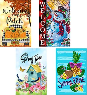 Yileqi 4 Pack Seasonal Garden Flags Set Double Sided Welcome Spring Summer Fall Winter Garden Flag, Small Yard Flag for Ou...