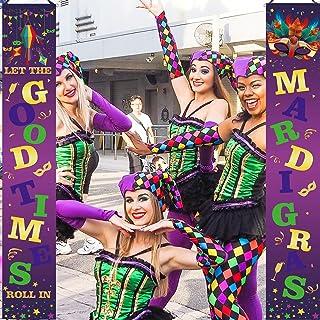 Sayala Decoración de Mardi Gras,Cartel de Bienvenida Cartel de jardín Decoración Colgante para decoración de Interiores al Aire Libre Fiesta de Disfraces de Mardi Gras