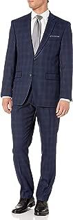 Perry Ellis Men's Two Piece Finished Bottom Slim Fit Suit, Navy Plaid, 40 Regular