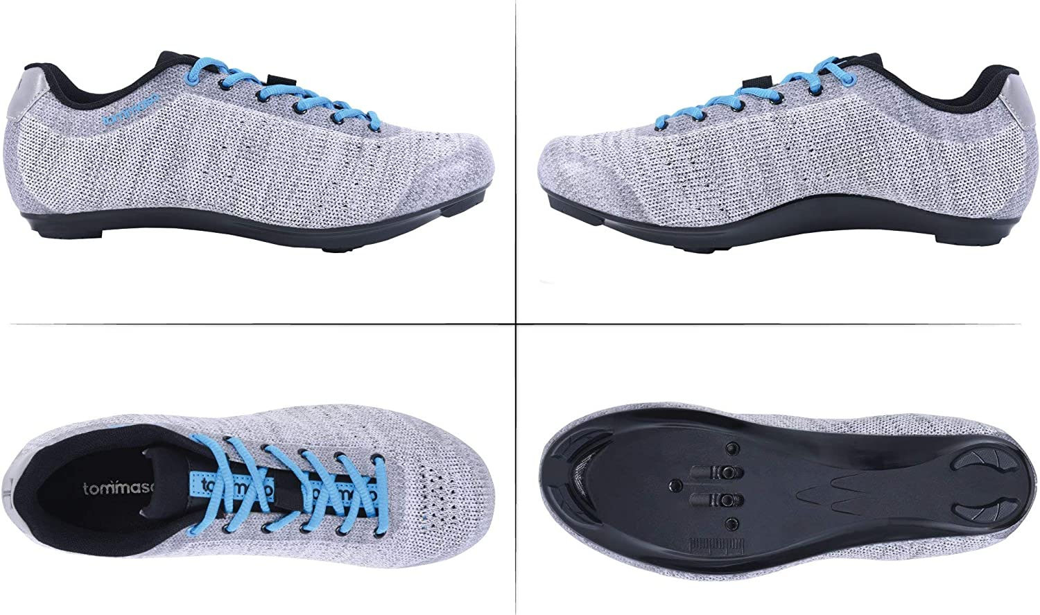 Black Tommaso Pista Aria Knit Womens Spin Class Ready Cycling Shoe and Bundle with Compatible Cleat Grey Pink Look Delta SPD Blue