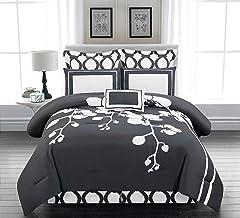 Duck River April Orchid Flower Comforter Set, King, Slate-Grey