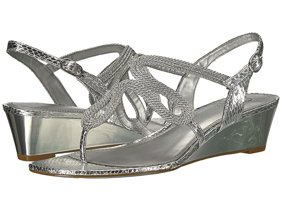 13cc80aa724c3 Adrianna Papell Cannes (Silver Metallic Rope) Women s Wedge Shoes