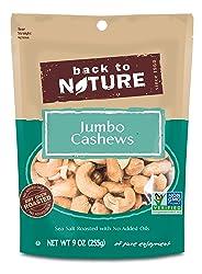 Back to Nature Non-GMO Sea Salt Roasted Jumbo Cashews, 9 Ounce
