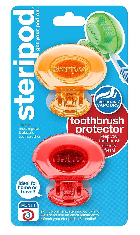 武装解除見かけ上わざわざステリポッド(2 パック?オレンジ&レッド) クリップオン歯ブラシ プロテクター