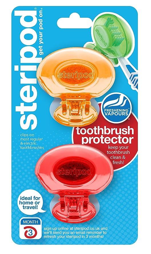 スクラップ告発意味ステリポッド(2 パック?オレンジ&レッド) クリップオン歯ブラシ プロテクター