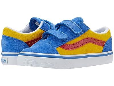 Vans Kids Old Skool V (Infant/Toddler) ((Suede Color-Block) Nebulas Blue/Lemon Chrome) Boys Shoes