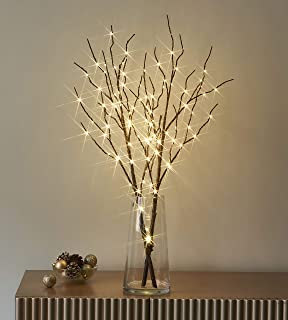 LITBLOOM Lighted Brown Willow Branches with Timer Battery Operated Tree Branch with Warm White Lights for Holiday and Part...