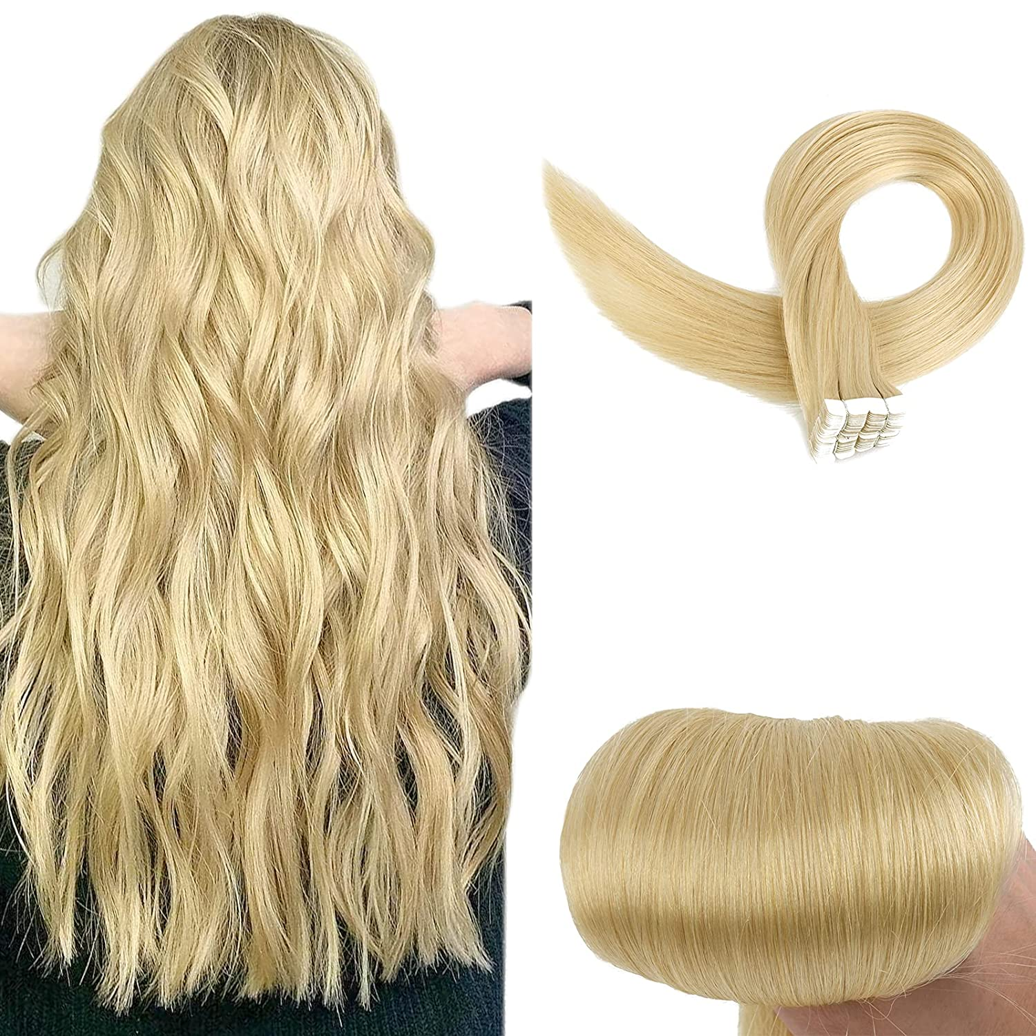 icymay Human Hair Extensions Price reduction Tape Ranking TOP16 in Golden Real Na Blonde Light