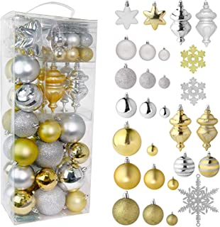 RN'D Christmas Snowflake Ball Ornaments - Christmas Hanging Snowflake and Ball Ornament Assortment Set with Hooks - 76 Ornaments and Hooks (Gold & Silver)
