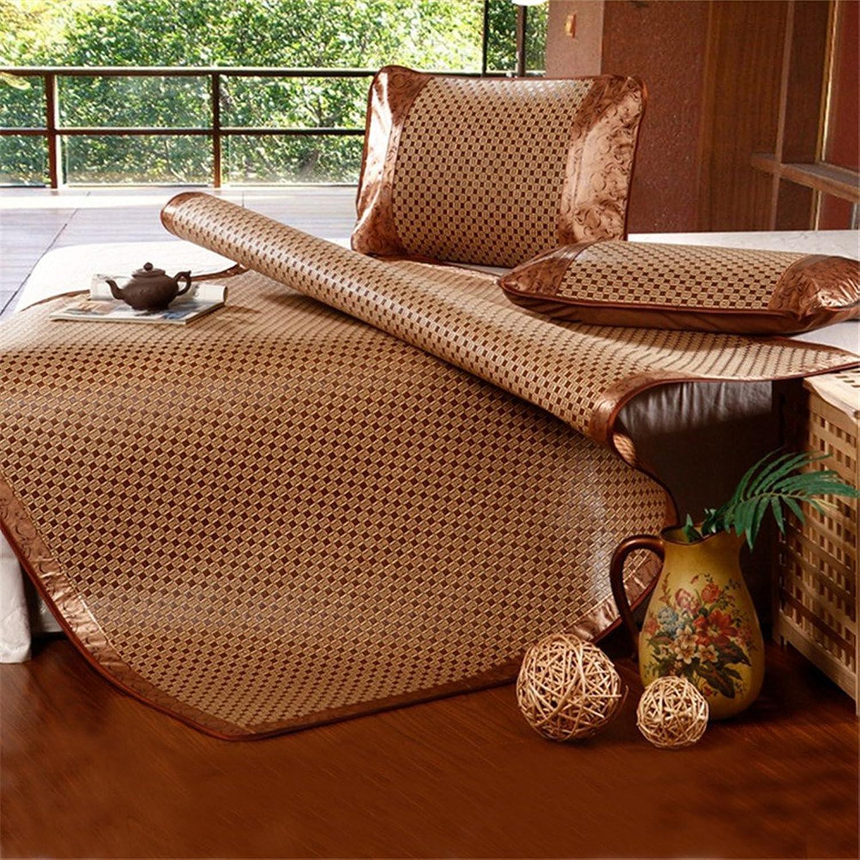 Simonshop Folding Non-Slip Cooling Rattan Mattress Plaid Topper Pad Summer Sleeping Mat Pillowcases Set (King, Style 3)
