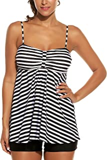 Avidlove Women Retro Sailor Stripe Dot Tankini Set Two Pieces Swimsuit Spaghetti Strap Swim Top and Bottoms