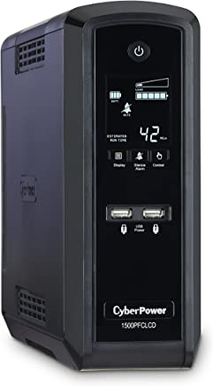 $199 » CyberPower CP1500PFCLCD PFC Sinewave UPS System, 1500VA/900W, 10 Outlets, AVR, Mini-Tower