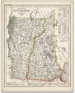 1846 New Hampshire Map - 11x14 Unframed Art Print - Great Vintage Home Decor Under $15