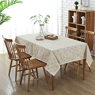 Enova Home Natural Simple Rectangle Cotton and Linen Washable Tablecloth, Lace Table Cloth Cover with Pattern Printed for Kitchen Dinning Tabletop (54 x 80 Inch, Green Grass)