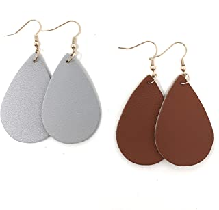 Leather Earrings/Two Pairs Leaf or Teardrop Earring/Joanna Gaines Zia Style Genuine Leather/Black & White or Gold & Silver/Diffuser Earrings for Essential Oils