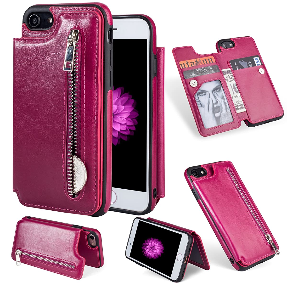 Wallet Case for iPhone 8,iPhone 7 Case,Magenta PU Leather Stand Case,Ostop Credit Card Holder Zipper Purse Slim Fit Magnetic Clasp Flip Folio Cover with Cash Pocket Soft TPU Bumper Shell