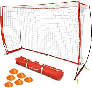 GoSports Elite Futsal Soccer Goal | Regulation 3M x 2M Size for Indoor or Outdoor Use | Foldable Bow Frame Sets Up in Minutes | Play & Train Like The Pros