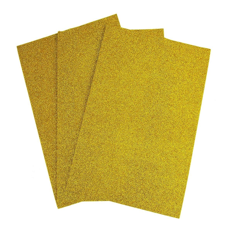 Homeford Self-Adhesive Glitter EVA Foam Sheet, 8-Inch x 12-Inch, 3-Piece (Gold)