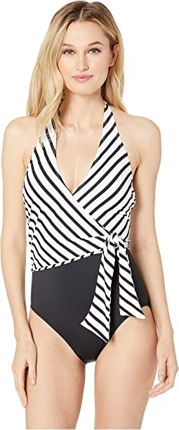 Stripe Mix Asymmetrical Tie One-Piece
