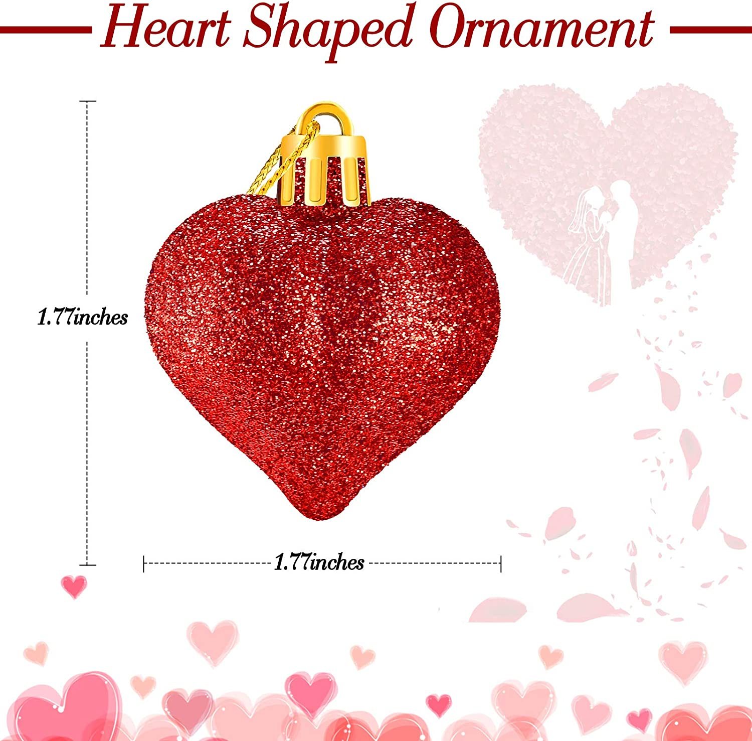 Glitter Valentine Acrylic Heart Ornaments Heart Baubles for Christmas Tree Bauble Wedding and Home Birthday Party Decoration Red WILLBOND 24 Pieces Heart Shaped Ornament