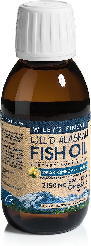 Wiley's Finest Wild Alaskan Fish Oil - Peak Omega-3 Liquid 2150mg EPA + DHA Omega-3 Natural Supplement 25 Servings
