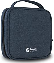 Simboom DVD Case Holder, Portable 32 CD/DVD Disc Storage Wallet Organizer Bag for Car, Home, Office and Travel (Dark Blue)