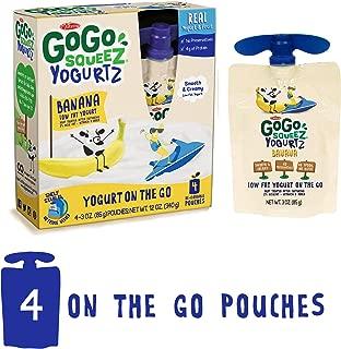 GoGo squeeZ YogurtZ, Banana, 3 Ounce (4 Count), Low Fat Yogurt, Gluten Free, Healthy Snacks, Recloseable, BPA Free Pouches