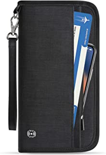 Family Passport Holder RFID-Blocking Travel Wallet Ticket Holder Document Organizer with Zipper for Women & Men, Fits 5 Passports (Black, Large)