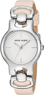 Anne Klein AK/2631SVLP Reloj de pulsera para mujer, tono plateado y correa de piel rosa claro