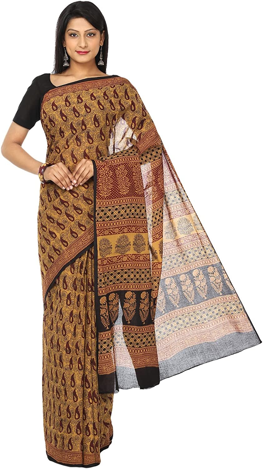 Kalakari India Cotton Saree (Zibasa0008_Mustard  Black  Maroon)