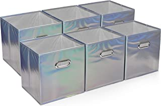 Foldable Cube Storage Bins - 6 Pack - These Decorative Fabric Storage Cubes are Collapsible and Great Organizer for Shelf, Closet or Underbed. Convenient for Clothes or Kids Toy Storage (Shiny Silver)