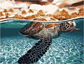 RICUVED Paint by Numbers Painting for Adults DIY Oil Painting Kit on Canvas Home Decoration Sea Turtle 16x20inch
