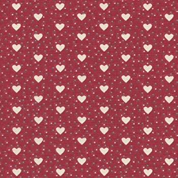 Tela de algodón estampada Corazones de amor - crema y gris medio ...