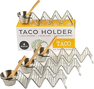 Taco Shell Stand Up Holders - 4 Pack Premium Stainless Steel Oven, Dishwasher Safe Taco Holder, Holds 3 Tacos Each Keeping Shells Neat and Upright, Also Comes With 4 Salsa Cups and 4 Wooden Spoons