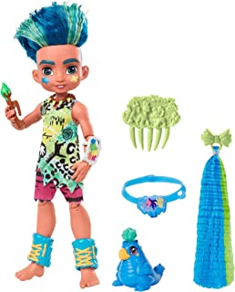 Mattel Cave Club Slate Doll (10-inch, Blue Hair) Poseable Prehistoric Fashion Doll with Dinosaur Pet and Accessories, Gift...