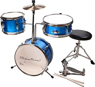 Spectrum AIL 620B 3-Piece Junior Drum Set with 8-Inch Crash Cymbal and Drum Throne, Electric Blue