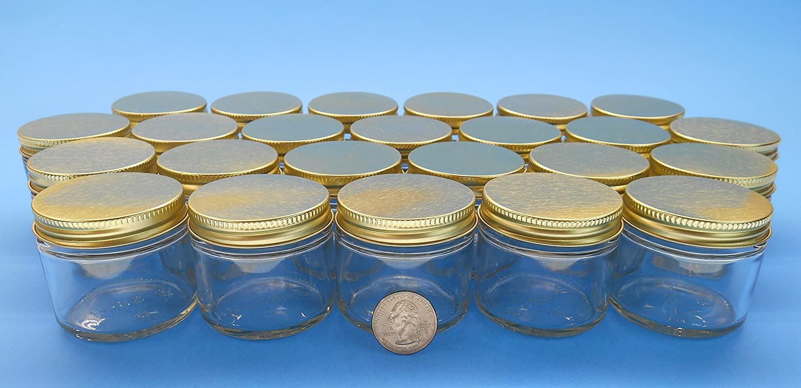 2 Oz Straight Sided Jars With Metal Plastisol Lids 24 Gold