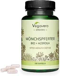 Agnus-Castus BIO Vegavero® | 100% NATURAL | ALTA DOSIS 100mg | Con Vitamina C Natural | Menopausia + Síndrome Premenstrual + Equilibrio Hormonal | 180 Cápsulas | Sin Aditivos | Vegano
