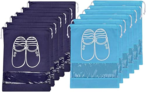 Lify Travel Shoe Bags, Portable Travel Shoe Tote Bags - Packing Organizers for Men and Women- Aqua Blue (6 Pcs) + Nav...