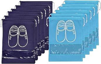Lify Travel Shoe Bags, Portable Travel Shoe Tote Bags - Packing Organizers for Men and Women- Aqua Blue (6 Pcs) + Navy Blu...