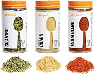 Allrecipes Taste of Mexico (Cilantro, Ground Cumin, Fajita Blend) in Glass Jars with Removable Sifter Caps for Sprinkling,...