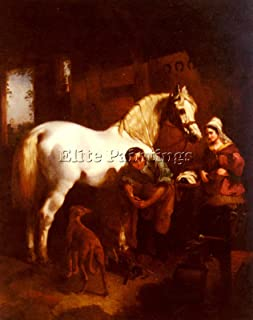 HERRING JOHN FREDERICK VILLAGE BLACKSMITH ARTIST PAINTING OIL CANVAS REPRO ART 20x16inch MUSEUM QUALITY