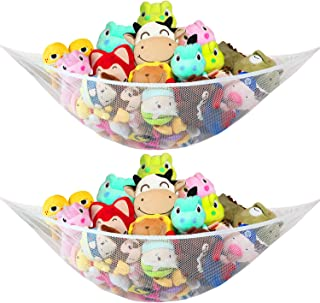 [2 Pack]Jumbo Toy Hammock for Stuffed Animals Durable Plush Toys Organizer Storage Net, Easy to Install, Large, Expands to 5.9 Feet