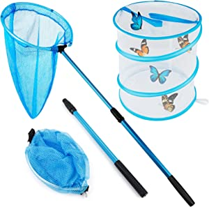 GINMIC Insect and Butterfly Net Kit with Pop-up Habitat Cage, 39 Inch Telescopic Butterfly Nets for Kids, Foldable Insect Mesh Cage, Insect Bug Net Kit for Caterpillar Ladybird Outdoor Activities