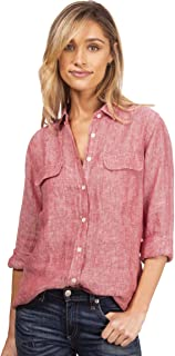 Womens 100% Linen Button Down Shirt Casual Basic Blouse Pockets Loose Top