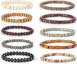 FIBO STEEL 10 Pcs Wood Beaded Bracelet for Men Tibetan Buddhist Meditation Mala Prayer Beads Bracelet Elastic