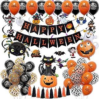73 Stks Halloween Decoraties Set met Pompoen Kat Spider Ghost Heks Folie Ballonnen Happy Halloween Banner Zwart Oranje Lat...