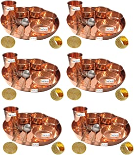 Set of 6 Prisha India Craft Handmade Indian Dinnerware Pure Copper Thali Set Dia 12