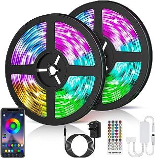 LETION Tira LED 10M, Tiras LED Control Bluetooth&RGB 5050 12V con 300 LEDs, Iluminación de ambiente,Impermeable, Control R...