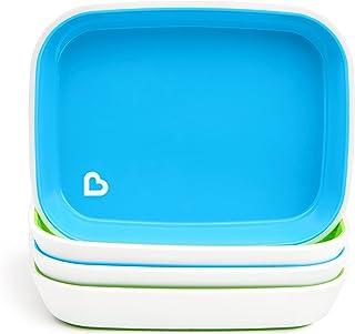 Munchkin Splash 4 Piece Toddler Plates, Blue/Green